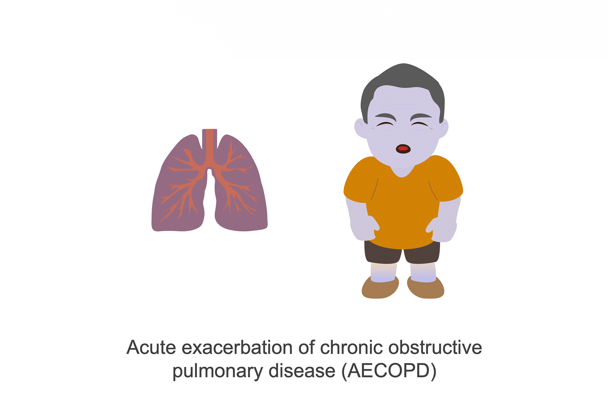 Man with blue skin as sign of acute exacerbations of chronic obstructive pulmonary disease (AECOPD). Cartoon.
