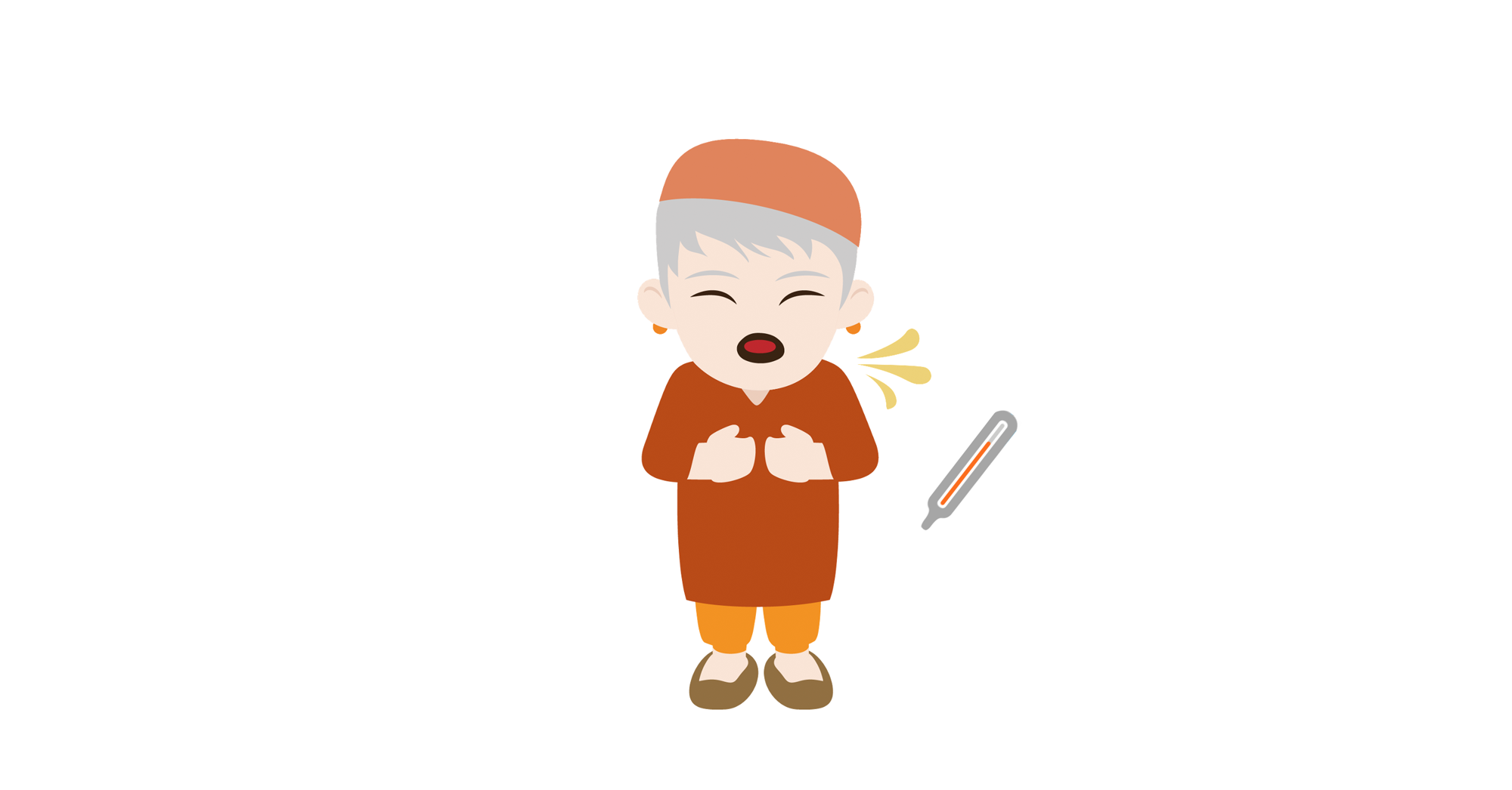 Older woman with grey hair and a hat, coughing, thermometer. Cartoon.