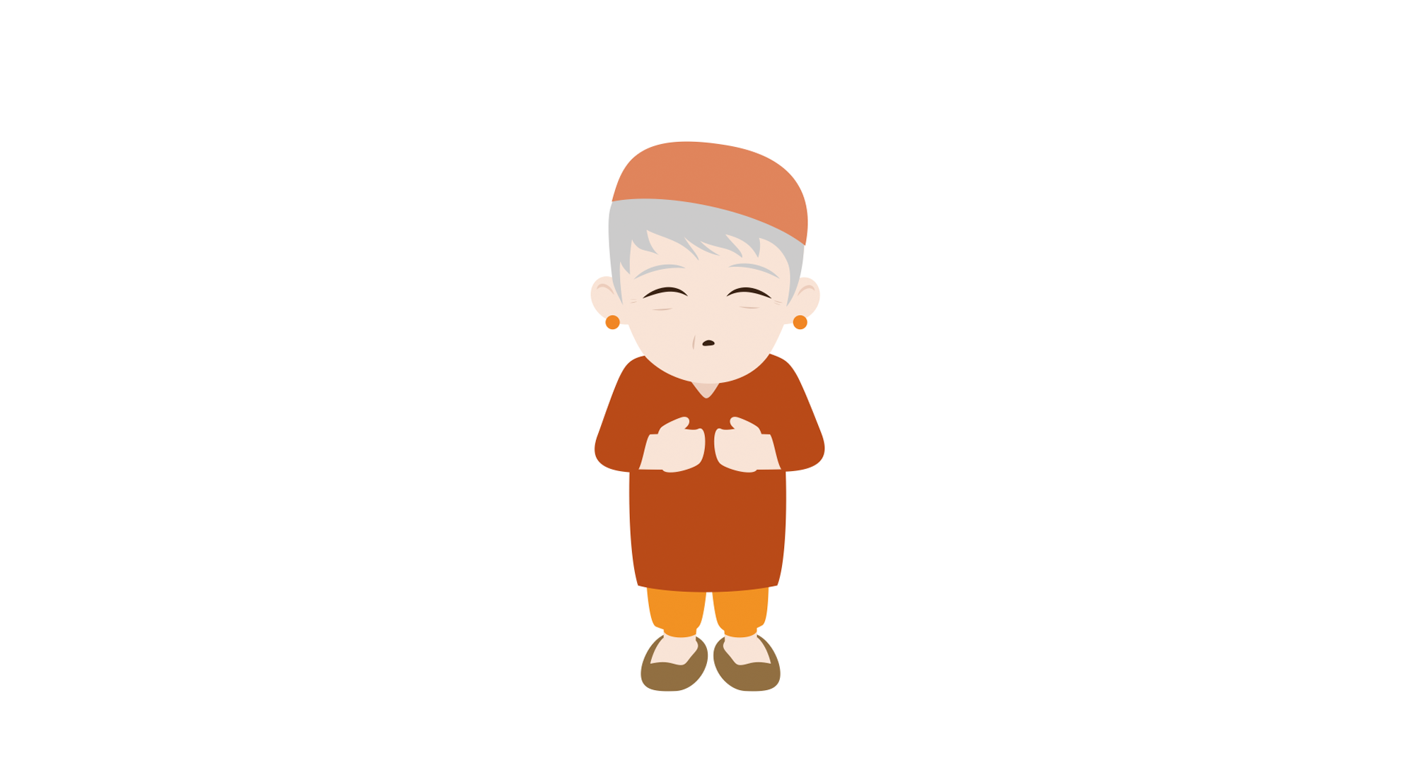 Old lady with orange outfit. With text indicating 72 years old and acute exacerbation of chronic obstructive pulmonary disease. Cartoon.