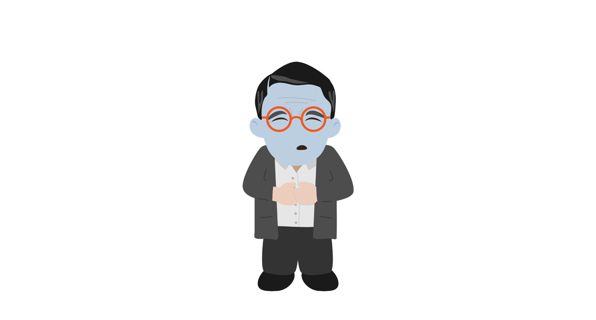 Man with a blue face. With text indicating 67 years old and pulmonary edema.Cartoon.