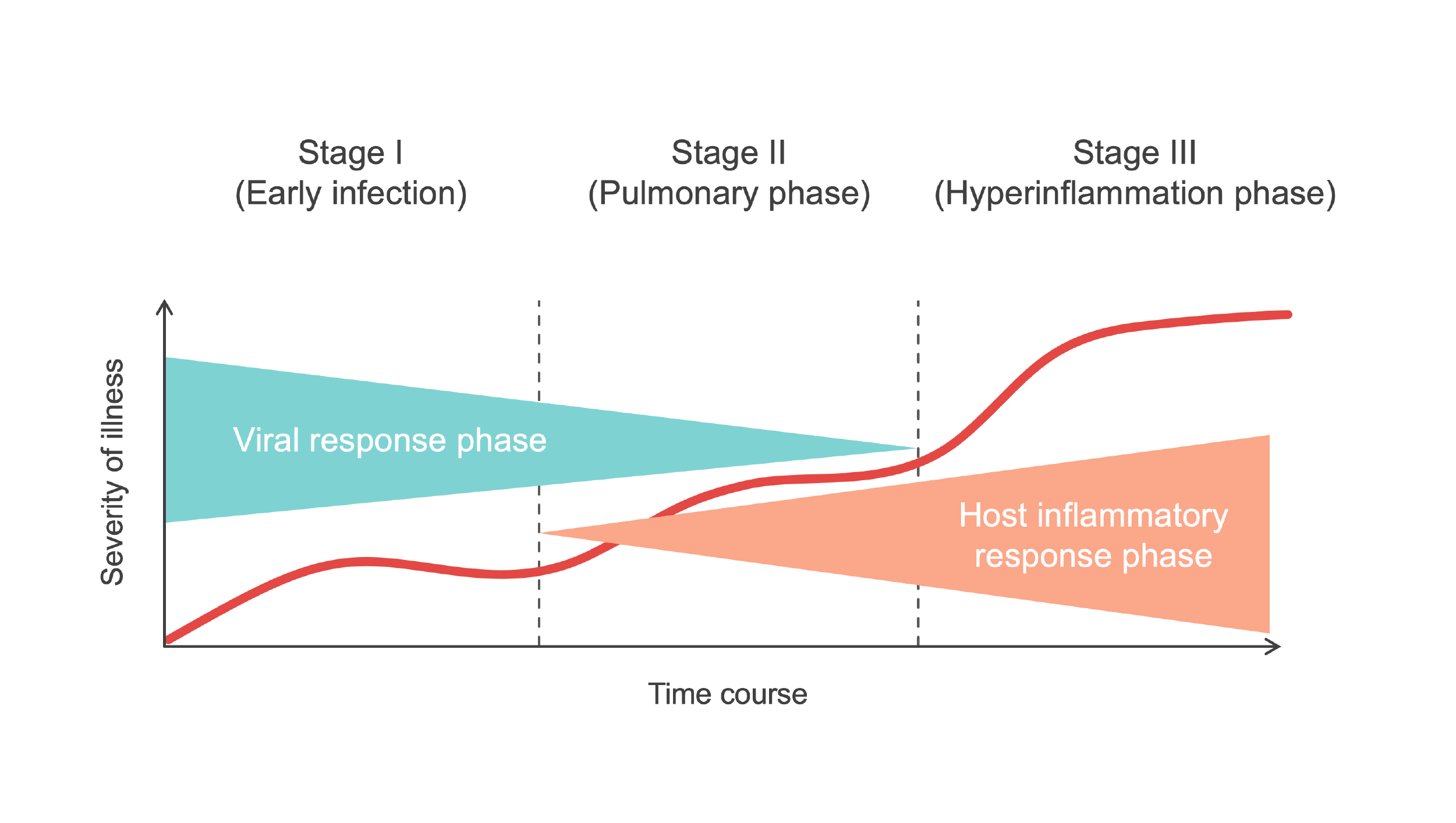 Graph showing the stages of COVID-19 infection over time, divided into three stages of increasing severity.