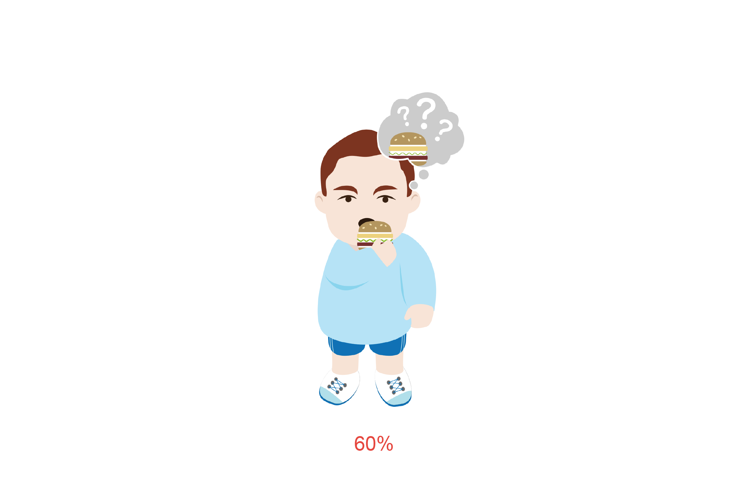 Patient with hamburger thinking of what food it could be. Illustration