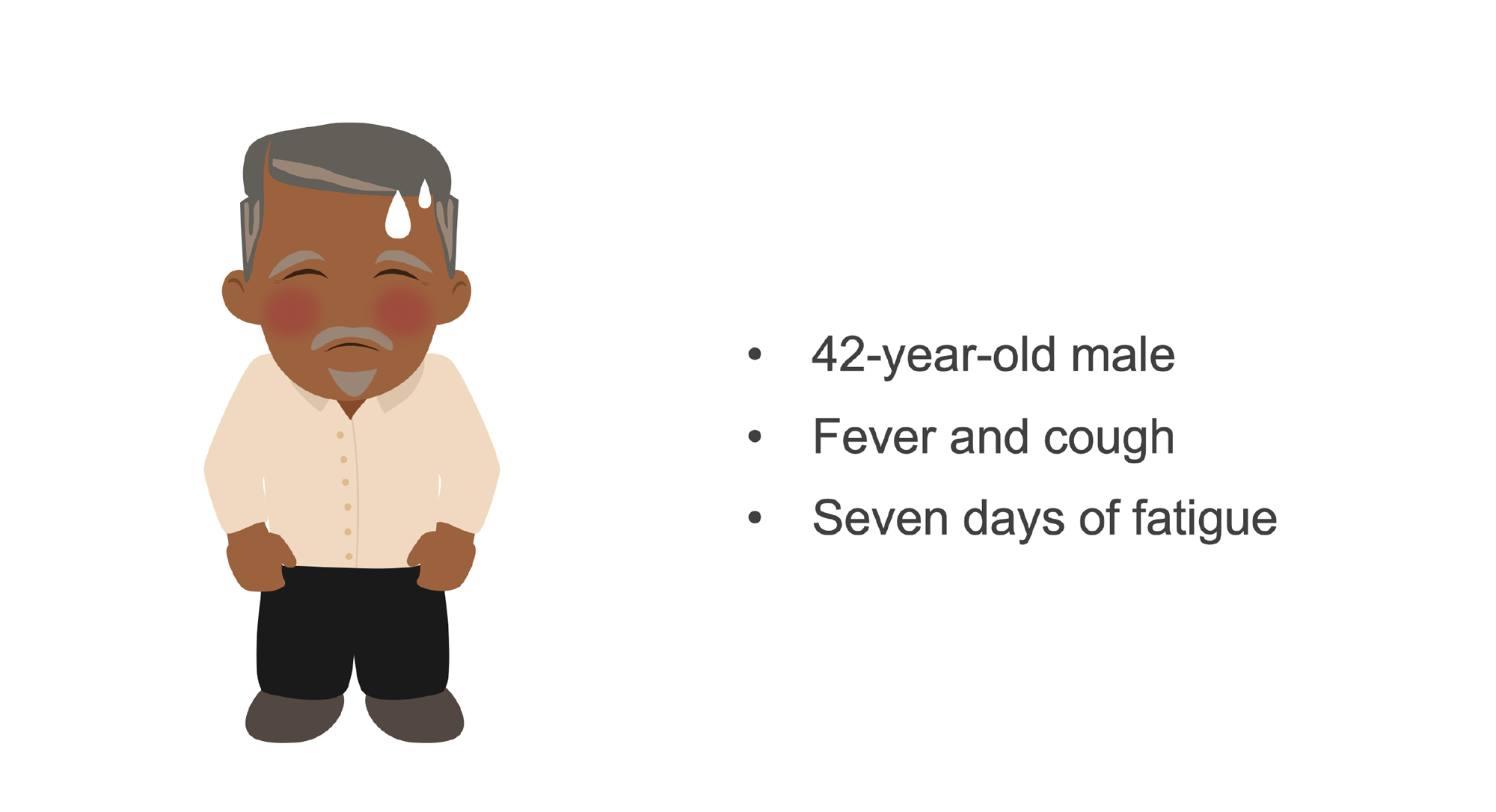 Man with fever. Illustration.