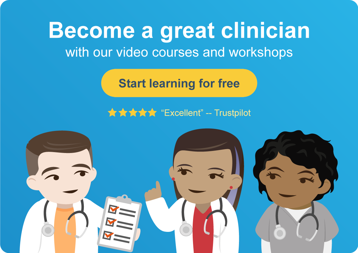 """Clickable call to action, """"Start learning for free"""", with direct link to sign up for a free Medmastery trial account."""