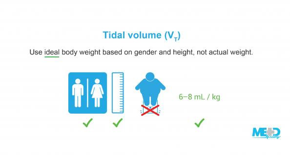 Initial tidal volume, or VT, is set to between six and eight milliliters per kilogram based on ideal body weight. Text image.