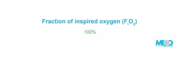 Initial fraction of inspired oxygen, or FIO2, is set at 100%. Text image.