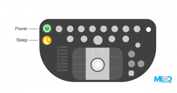 Duplex ultrasound machine keyboard with power and sleep buttons highlighted. Illustration.