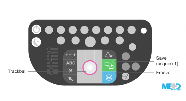 Duplex ultrasound machine keyboard with trackball, freeze, and save (acquire 1) buttons highlighted. Illustration.