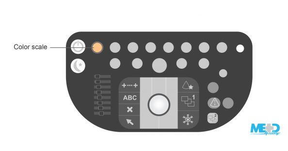 Duplex ultrasound machine keyboard with color scale dial highlighted. Illustration.