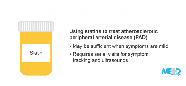 Bottle of statin medication and list of indications for the treatment of atherosclerotic peripheral arterial disease (PAD) with statins. Illustration.